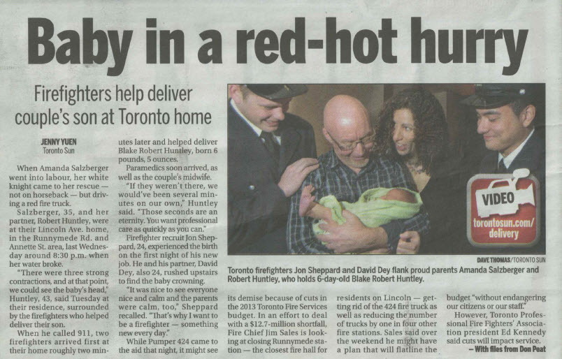 Toronto Sun News Article of our son's birth